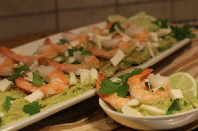 Garlic Avocado and Shrimp with Queso Fresco