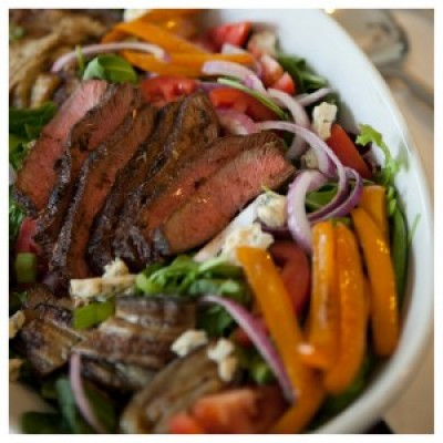 Grilled Skirt Steak over Summer Vegetable Salad