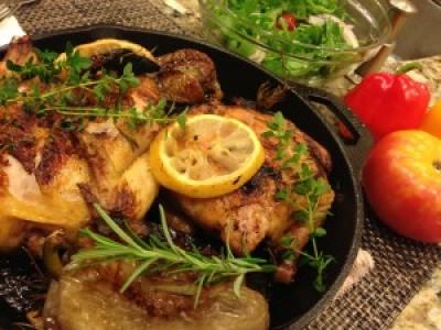 Herbs and Lemon Cornish Hens on BGE
