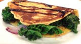 Socca filled with Kale and topped with Fig Balsamic