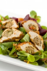 Mushroom Stuffed Chicken over Salad