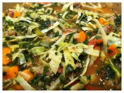 Paleo Kale, Cabbage and Sausage Soup