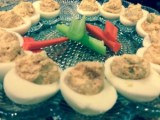 Roasted Buffalo Chicken Deviled Eggs