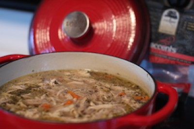 Sprouted Rice Chicken Soup