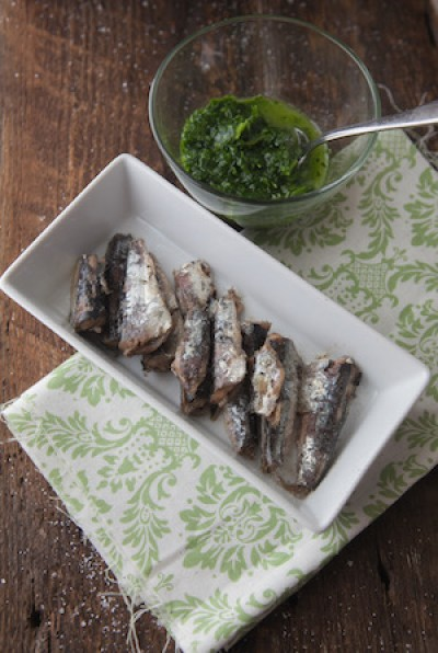 Grilled White Anchovies with Gremolata