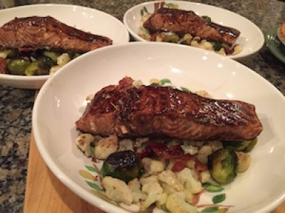 Balsamic Glazed Salmon over Roasted Brussel Sprouts and Cauliflower