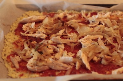 Rotisserie Chicken and Caramelized Onions Cauliflower Pizza