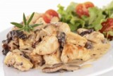 Chicken and Mushrooms in a Garlic Wine Sauce (30 minute meal)