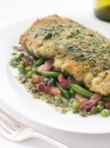 Chicken Milanese with Pancetta and Vegetables with Herb Lemon Sauce