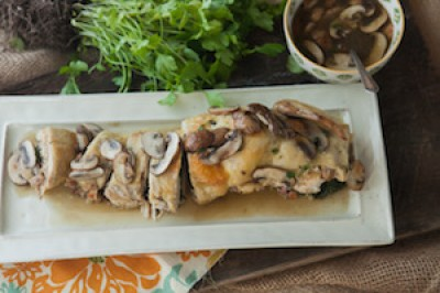 Rolled Stuffed Chicken in Parchment Paper