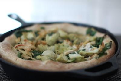 Paleo Cast Iron Pizza with Chicken, Artichoke and Spinach Pizza