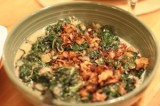 Sauté Spinach and Kale topped with Caramelized Shallots