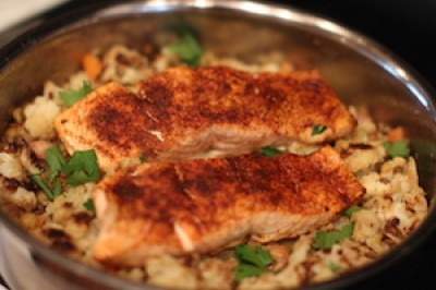 Cumin Salmon over Lentils and Cauliflower