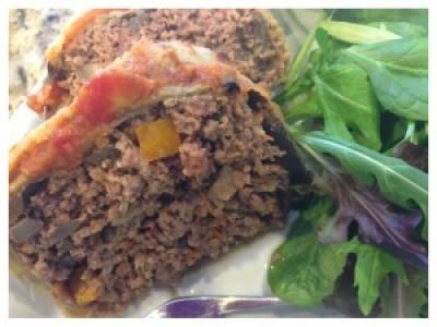 Eggplant Parmesan wrapped Meatloaf