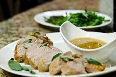 Ginger Glazed Pork Loin with Roasted Asparagus and Arugula Salad