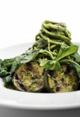 Sautéed Zucchini and Spinach Spaghetti with Avocado Pesto