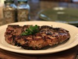 Grilled Veal Loin Chop with Herbs and Garlic