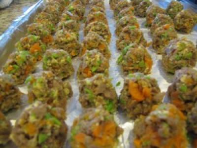 Jake's Hotdog Meatballs with Peas and Carrots