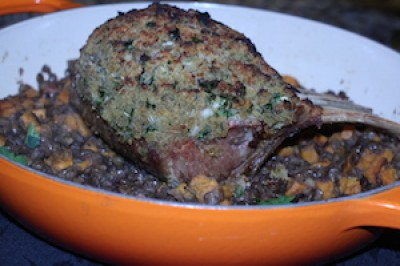 Tuscan Roasted Lamb over Lentil and Sweet Potato
