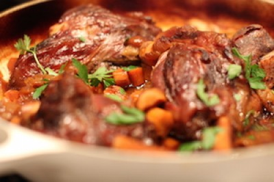 Braised Lamb Shanks with Butternut Squash Puree