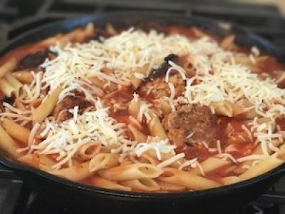 Turkey Meatballs Lasagna Skillet