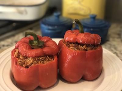 Paleo Left Over Meatball Stuffed Peppers