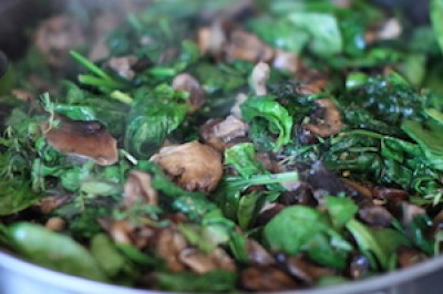 Roasted Mushrooms with Spinach and Herbs