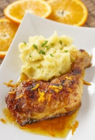 Orange Chicken with Mashed Cauliflower and Parsnips