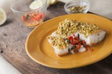 Pistachio Crusted Cod with Roasted Pepper Sauce