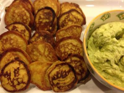 Mini Plantain Pancakes with Creamy Avocado