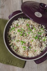 "Porcini Mushroom and Peas ""Cauliflower"" Risotto"