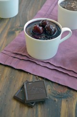 Pots De Crème with Red Wine Cherries