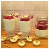 Raspberry Panna Cotta with Hazelnut Shortbread Cookies