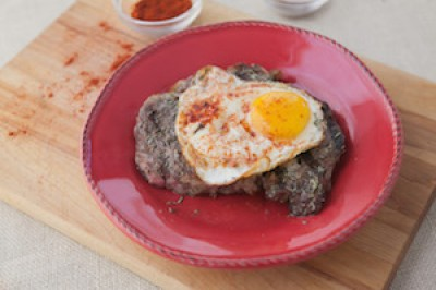 Grilled Rib Eye with a Spicy Fried Egg