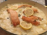 Creamy Salmon Piccata and Pasta