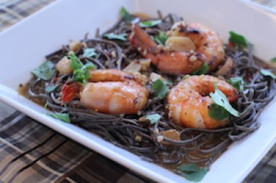 Garlic Shrimp Black Bean Pasta