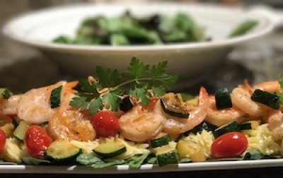 Shrimp with Orzo and Vegetables