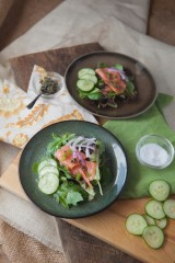 Spinach and Smoked Salmon Salad with Lemon Dill Dressing