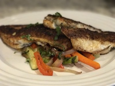Blackened Seared Yellow Tail Snapper with Sautéed Vegetables