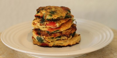 Kale, Roasted Red Peppers and Spaghetti Squash Fritters