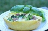 Spaghetti Squash Vegetable and Bacon Quiche