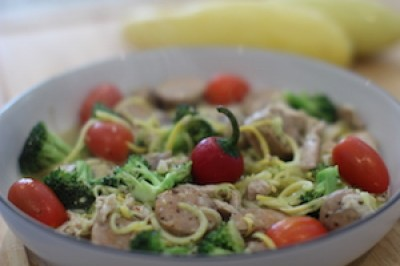 Spicy Chicken and Broccoli with Squash Pasta