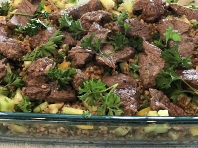 Sirloin Bites with Mediterranean Farro Salad