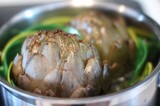 Garlic Steamed Whole Artichokes
