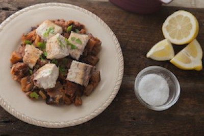 Swordfish with Eggplant Caponata
