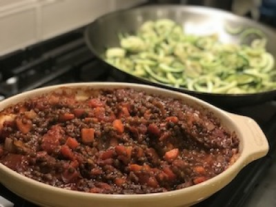 Vegan Sloppy Joes over Zucchini Noodles
