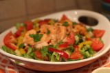 Warm Salmon Salad with Honey Mustard Dill Dressing