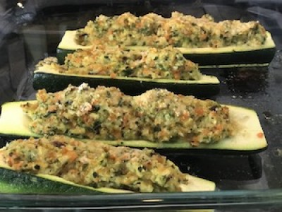 Vegetable Loaded Zucchini Boat